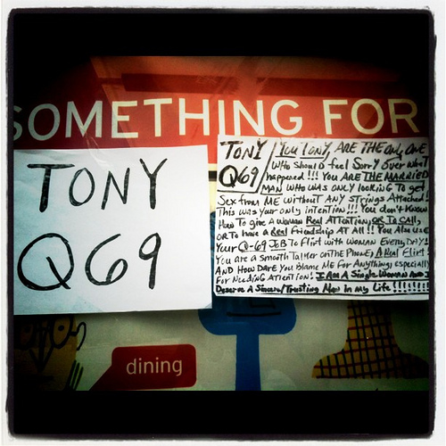 TONY Q69. YOU TONY are the only one who should feel sorry over what happened!! YOU ARE THE MARRIED MAN who was only looking to get sex from me without any strings attached!!