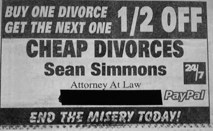 Buy one divorce, get your next one 1/2 off